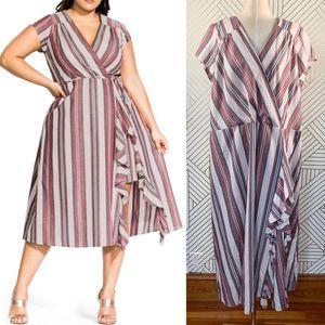 City Chic Be Free Stripe Faux Wrap Dress Salsa